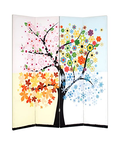 Roundhill Furniture 4-Panel Double Sided Painted Canvas Room Divider Screen, Life Tree