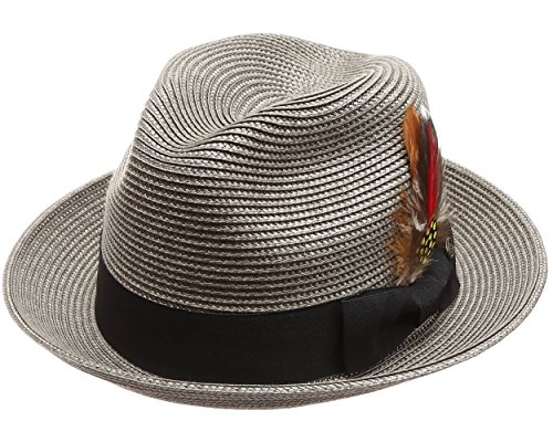 MIRMARU Men s Lightweight Trilby Fedora Short Curled Brim Hat with  Removable Feather 1d9a4ec88a12