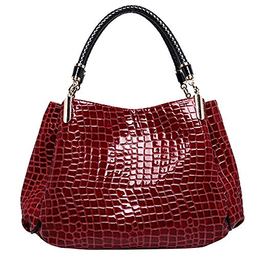 Pattern Tote Crocodile Handbag (Women Alligator Print Top Handle Bag Embossed Crocodile Pattern Handbag Tote Bag(Burgundy))