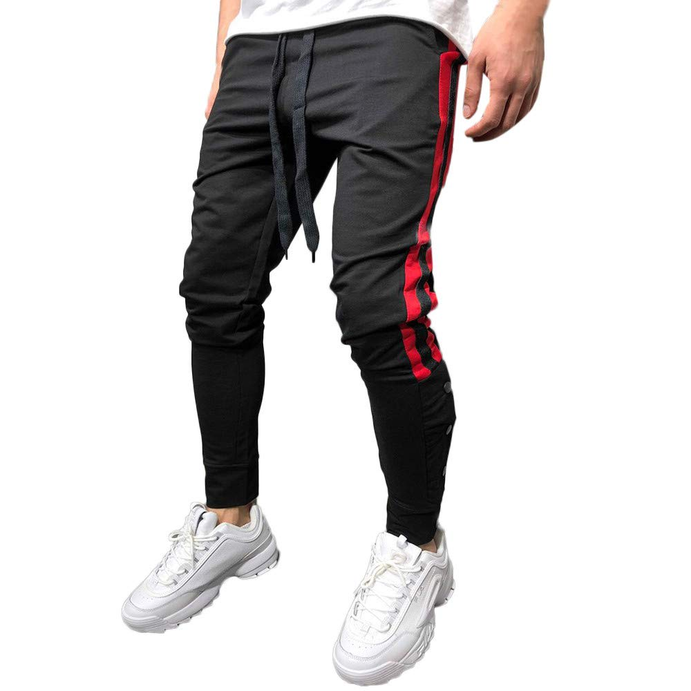 HTHJSCO Men's Athletic Skinny Track Jogger Pants Trousers, Solid Loose Patchwork Button Sweatpant (Black, M)