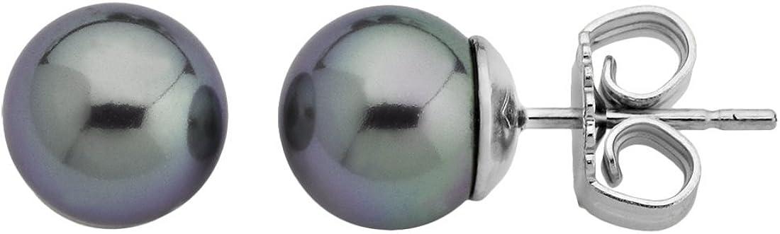 Majorica - Pendientes, 8 mm perlas grises redondas