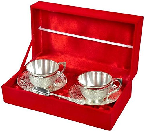 Tuzech Silver Plated 2 Cup Plate and Spoon Set Dining Set Cutlery Buisness Gift (Silver Plated Beverage)