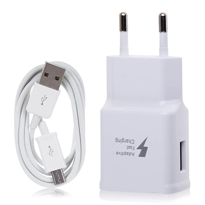 Samsung TA20 Cargador Galaxy S7 , Carga rápida, AFC 2 A, con Cable Micro USB de 1,5 m, Blanco