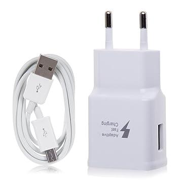 Samsung TA20 Cargador Galaxy Note 4 N910 Carga rápida AFC 2 A con Cable Micro USB 1,5 M Blanco