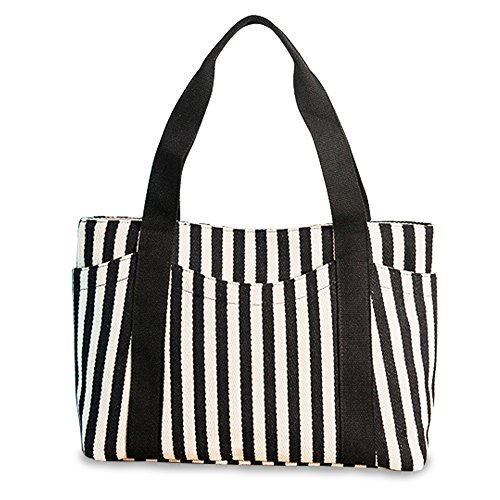 Fanmaous Canvas Handbags Striped Top Satchel Hand Bags Fashion Causal Tote Bag with Outer Pocket Gift Large Shoulder Handbag Purse for Women Beach,Black