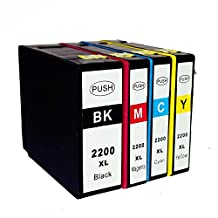 Ouguan Ink® 4Pack (1BK 1C 1M 1Y) New Compatible PGI-2200XL Ink PGI-2200XL Combo Pack Black Ink Cyan Magenta Yellow Pigment Ink Cartridge for Canon MAXIFY IB4020 MB5020 MB5320 Printer