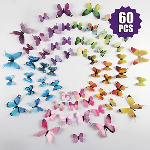 Neele Butterfly Wall Decals 60Pcs Butterfly Removable Mural Stickers Wall Stickers for Home and Room Decoration