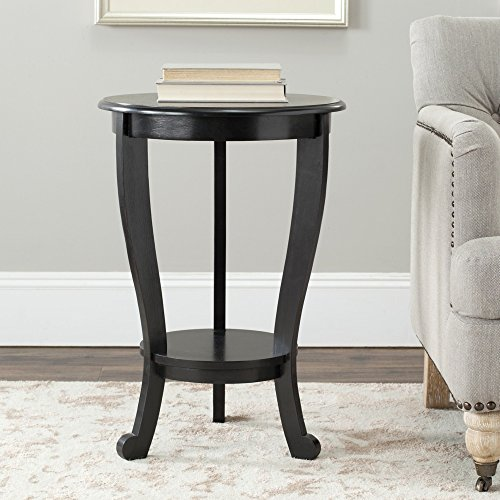Safavieh American Homes Collection Mary Distressed Black Pedestal End Table - Black Pedestal Side Table
