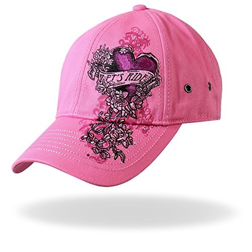 Hot Leathers BCA1043 Banner Heart Ball Cap (Pink) (Harley Ball Cap)