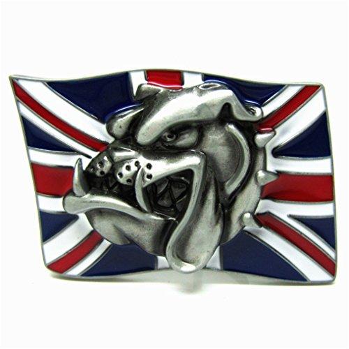 MASOP Casual United Kingdom British Flag Animal Dog Bulldog Belt Buckle (British Flag Belt Buckle)