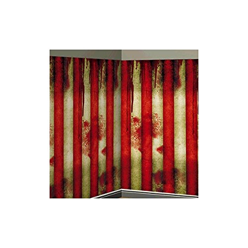 Halloween Circus (Amscan Creepy Carnival Stripe Halloween Trick or Treat Party Scene Setters Room Roll Decoration, Red/White, 40')