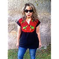 Blusa Mexicana Casual Bordada con Flores Cuello V