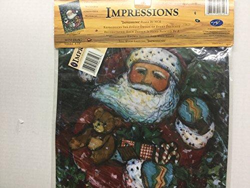 Impressions 11 x 15 Flurry Santa Decorative Hand Painted Mini Flag ()