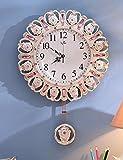 SUNQIAN-Creative fashion wall clock, quartz clock antique garden room, swinging bell wood clock watch personality,B