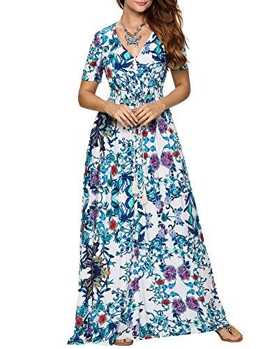 de D't Casual Robe Chic Cocktail Col Femme Bleu Empire Courtes en Fleur Soire de Plage Robe Taille Maxi Femme Longue V Manches Robe Aofur 6wAqZx7