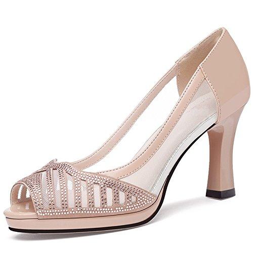 Jqdyl Tacones Sandalias Mujer Primavera y Verano Nueva Boca de Pescado Grueso con Tacones Altos Zapatos de Mujer Transpirables Zapatos de Malla Solo, 40, Oro 40|Golden