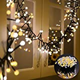 Areker LED String Lights, Fairy Starry Icicle Lights Outdoor Indoor 31V 400LEDs Circle Globe Lights Decor Lighting for Home Bedroom Garden Window Holiday Christmas Wedding Party, Warm White