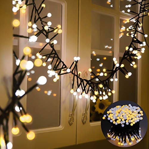 Areker LED String Lights, Fairy Starry Icicle Lights Outdoor Indoor 31V 400LEDs Circle Globe Lights Decor Lighting for Home Bedroom Garden Window Holiday Christmas Wedding Party, Warm White from Areker