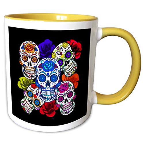 3dRose Sandy Mertens Halloween Designs - Sugar Skulls and Roses Mardi Gras, Halloween, 3drsmm - 11oz Two-Tone Yellow Mug (mug_290213_8) ()