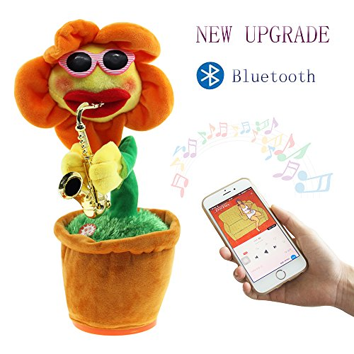 WATTA Singing Dancing Saxophone Sunflower, Bluetooth Play USB Charging Plush Potted Funny Creative Electric Toy for kids - Built-in 16 songs (Orange) - Voice Activated Crib Light
