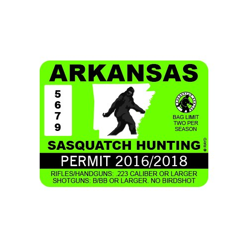 RDW Arkansas Sasquatch Hunting Permit - Color Sticker - Decal - Die Cut