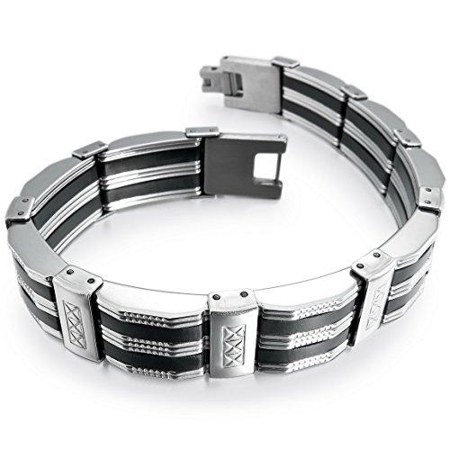 INBLUE Men's Stainless Steel Rubber Bracelet Cuff Link Wrist Silver Tone Black Cross (Cuff Steel Stainless Rubber)