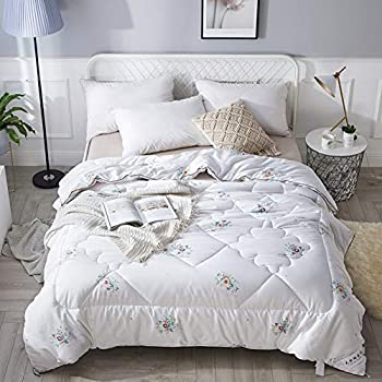 Image of All Season Down Alternative Comforter,Warm Fluffy Comforter Printed Cotton Comforter Premium Hotel Quality Quilt Bedding-a 220x240cm(87x94inch) Home and Kitchen