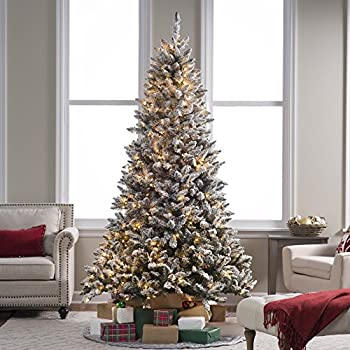 Amazon.com: 7.5 ft. Flocked Blue Ridge Spruce Christmas ...