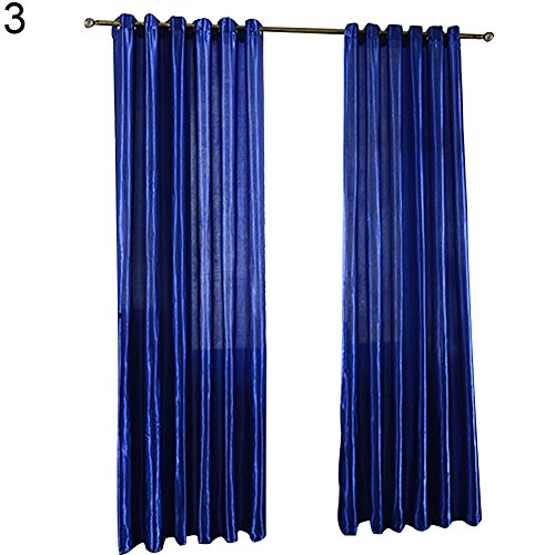 BYyushop 100x250cm Punching Solid Color Soft Window Blackout Curtain Bedroom Draperies - Sapphire Blue Punching