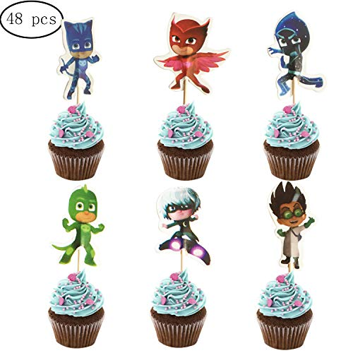 48PCS PJ Masks Cupcake Toppers for Kids Birthday Party Cake Decoration (Cake Topper Mask)