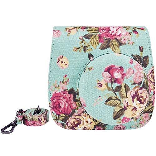 Elvam Camera Case Bag for Fujifilm Instax Mini 9/Mini 8/Mini 8+ Instant Film Camera - Green Flower Floral