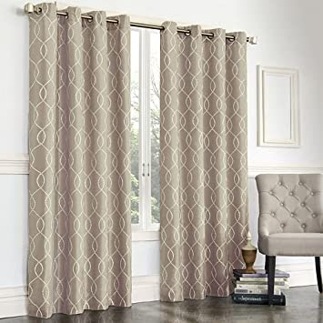 Regent Court Gramercy Embroidered Faux Silk Curtain 50quot
