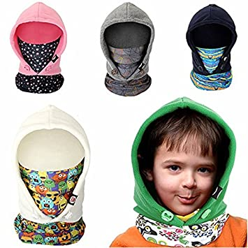 Childrens Outdoor Thermal Head Mask Windproof Ski Cap Double Fleece Face Mask Scarf