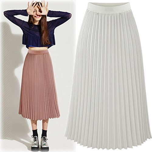Heheja Femme Mousseline Loisirs Jupes lgant Haute Taille Jupe Plissage Blanc ddvBnqrw