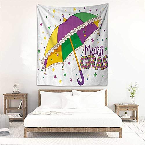 Fashion Tapestry Mardi Gras Parade Preparations Umbrella Stars Confetti Figures Joyful Fun Party Bedspread Yoga Mat Blanket 40