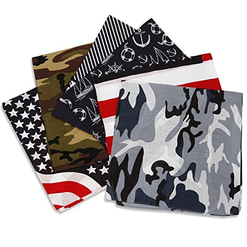 BMC 6pc Assorted Color Patriot Camo Bandana Head Wrap Scarves Set - Design A Bandana