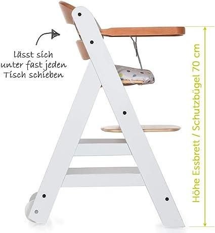 hasta 90 kg color blanco natural altura regulable incluye cintur/ón bandeja para comer Trona de madera evolutiva beb/és Hauck Beta Plus coj/ín gratis y ruedas