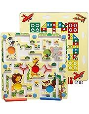 Lewpox Magneetspel, cijferlabyrint, houten magneetspel stad labyrint, 2-in-1 labyrint magneet voor kinderen ouder dan 3 jaar, opleiding visuele tracking en fijne motoriek