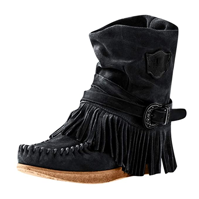 new photos new list outlet Women's Fringe Boots Fashion Casual Retro Roman Midi Calf Boots Round Toe  Rome Retro Fringe Short Ankle Boots Flat Shoes