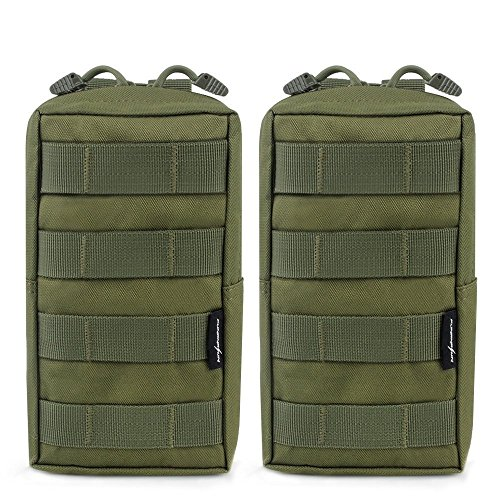 FUNANASUN 2 Pack Molle Pouches Tactical Compact Water resistant EDC Pouch (Olive Green) (Molle Utility Pouch)