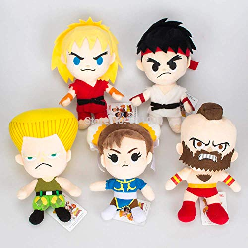 20cm (7.9 inch) - 5pcs/Set - Street Fighters Characters Ryu A Gulie Chun Li Plush Doll]()