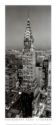 Chrysler Henri Building Silberman - New York, New York, Chrysler Building at Night by Henri Silberman - 9x19.75 Inches - Art Print Poster