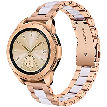 V-MORO for Galaxy Watch 42mm Band/Gear Sport Bands, 20mm Rose Gold Stainless Steel Replacement Strap with White Resin Bracelet for Samsung Galaxy ...
