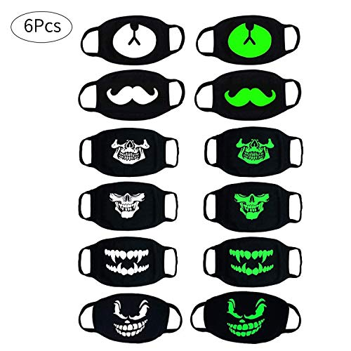 D.YMQGG Luminous Mouth Mask, 6 PACK Teeth Pattern Cool Unisex Cotton Blend Anti Dust Anime Cotton Face Mouth Mask Black for Men and Women ()