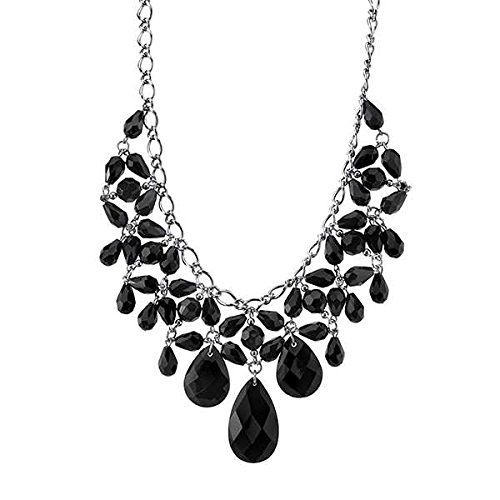 1928 Metro Jet Silver-tone Black Faceted Beaded Statement Necklace
