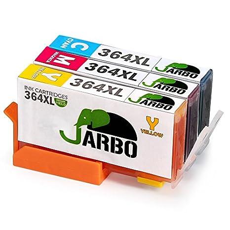 JARBO 4 Colori Compatibile Sostituire per HP 364 XL Cartucce d'inchiostro (2 Nero, 1 Ciano, 1 Magenta, 1 Giallo) Compatibile con HP Photosmart 5510 5511 5512 5514 5515 5520 5522 5524 6510 6520 6512 6515 7510 7520 7515 B8550 B8558 C5370 C5373 C5324 C6388 D5
