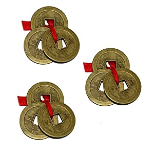 Aaradhi Chinese Feng Shui Antique Fortune I-Ching Coin Ornaments for Good Luck, Success & Prosperity/Ancient Tibetan Buddhist Wealth Charm Amulet Coins w/ Hole & Red Knot – Brown, Set of 3