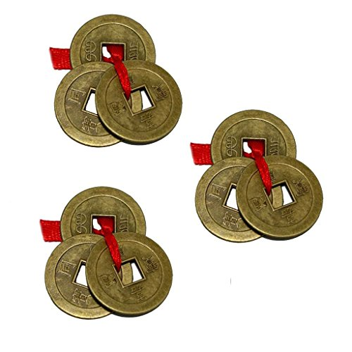 Aaradhi Chinese Feng Shui Antique Fortune I-Ching Coin Ornaments for Good Luck, Success & Prosperity/Ancient Tibetan Buddhist Wealth Charm Amulet Coins w/ Hole & Red Knot – Brown, Set of 3 ()