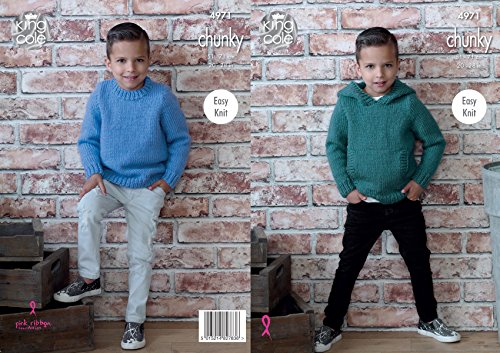 - King Cole Childrens Chunky Knitting Pattern Easy Knit Hooded or Round Neck Sweater (4971)