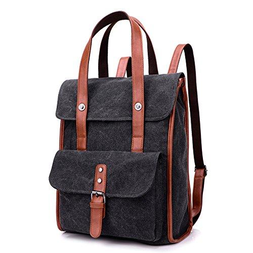 BYD - Mujeres Man Unisex School Bag Bolsos mochila Bolsa de viaje Canvas Bag Carteras de mano Bolsos bandolera with Mutil Function Pocket Negro